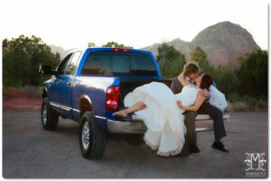 bride and groom, truck, happily married
