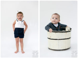 Studio, siblings, navy blue and white, bucket