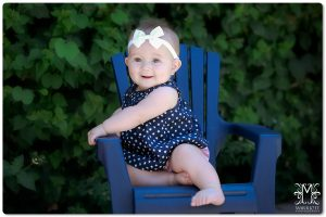 9 month old, girl, outside, green, chair, navy